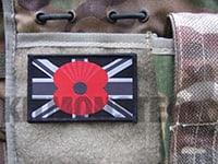 Flag Patch with Poppy, Large, Velcro, Mono