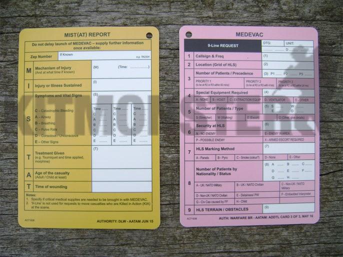 Card Slate Aide Memoire Commanders MIST AT MEDEVAC 1 P Kit Monster