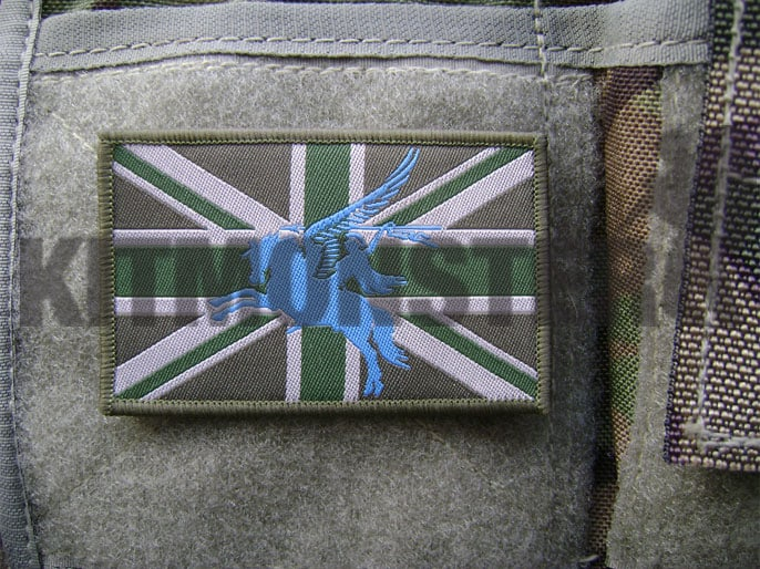 Flag Patch, Large, Velcro, MTP Green, Pegasus, Blue