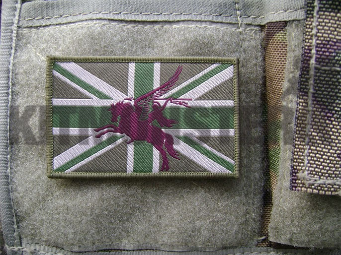 Flag Patch, Large, Velcro, MTP Green, Pegasus, Maroon